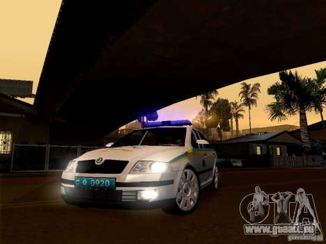 Skoda Octavia II ukrainische VERKEHRSPOLIZEI für GTA San Andreas zurück linke Ansicht