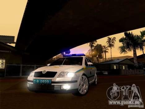 Skoda Octavia II ukrainien TRAFFIC POLICE pour GTA San Andreas sur la vue arrière gauche