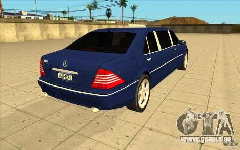 Mercedes-Benz S600 Pullman W220 für GTA San Andreas Seitenansicht