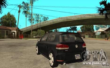 VW Golf 6 GTI pour GTA San Andreas sur la vue arrière gauche