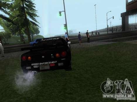 Nissan Skyline R34 Police pour GTA San Andreas sur la vue arrière gauche