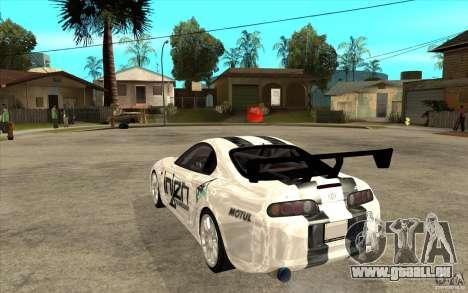 Toyota Supra MK-4 pour GTA San Andreas sur la vue arrière gauche