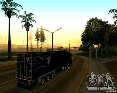 Remorque pour le Scania R620 souteneur pour GTA San Andreas sur la vue arrière gauche