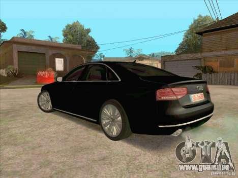 Audi A8 2010 pour GTA San Andreas sur la vue arrière gauche