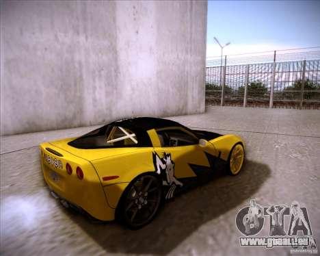 Chevrolet Corvette C6 super promotion pour GTA San Andreas sur la vue arrière gauche