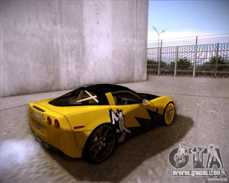 Chevrolet Corvette C6 super promotion für GTA San Andreas zurück linke Ansicht