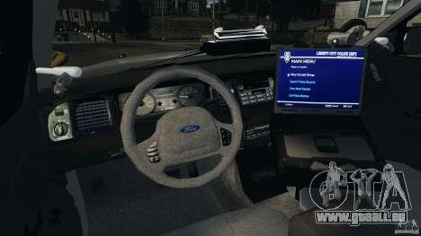 Ford Crown Victoria Police Unit [ELS] pour GTA 4 Vue arrière