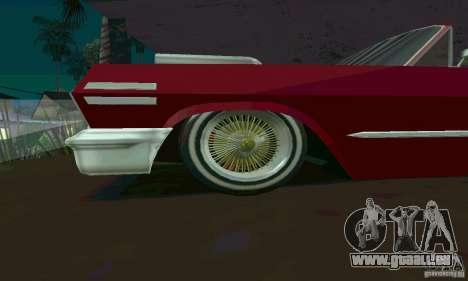 Chevrolet Impala 1963 Lowrider Charged pour GTA San Andreas laissé vue