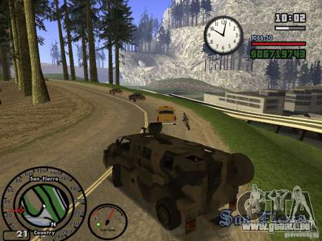 Australian Bushmaster für GTA San Andreas Rückansicht
