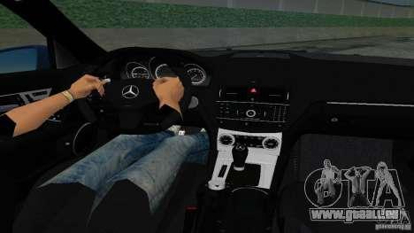 Mercedes-Benz C63 AMG 2010 für GTA Vice City zurück linke Ansicht