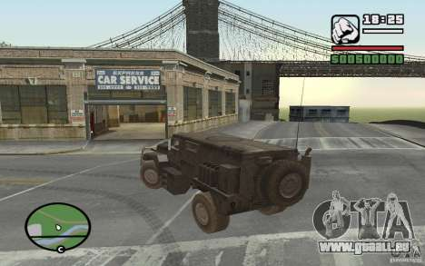 Camion militaire pour GTA San Andreas sur la vue arrière gauche