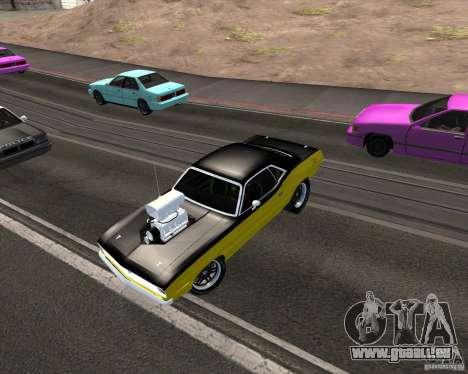 Plymouth Hemi Cuda 440 pour GTA San Andreas vue de dessous