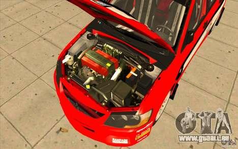 Mitsubishi Lancer Evo IX DiRT2 pour GTA San Andreas vue de dessus