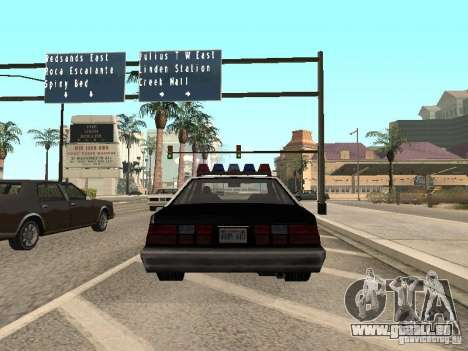 LVPD Police Car pour GTA San Andreas sur la vue arrière gauche