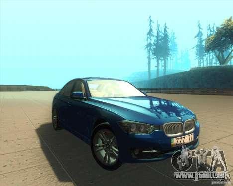 BMW 3 Series F30 2012 pour GTA San Andreas vue arrière