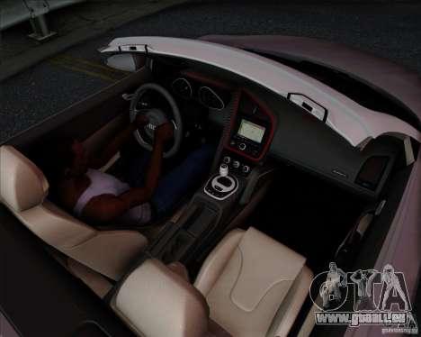 Audi R8 Spyder für GTA San Andreas Innenansicht