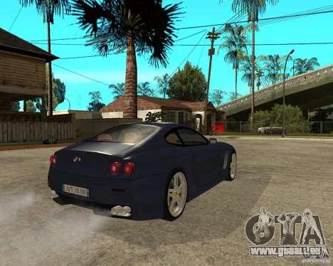Ferrari 612 Kappa pour GTA San Andreas sur la vue arrière gauche