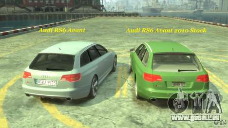 Audi RS6 Avant 2010 Stock für GTA 4 Innen