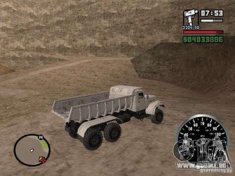 Camion à benne basculante KRAZ 225 pour GTA San Andreas vue intérieure