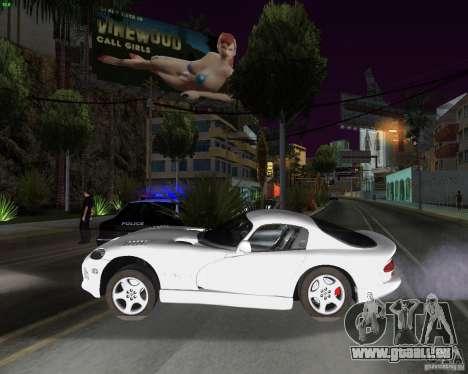 Dodge Viper pour GTA San Andreas sur la vue arrière gauche