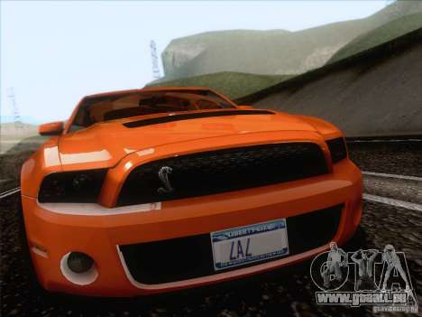 Ford Shelby Mustang GT500 2010 für GTA San Andreas Rückansicht