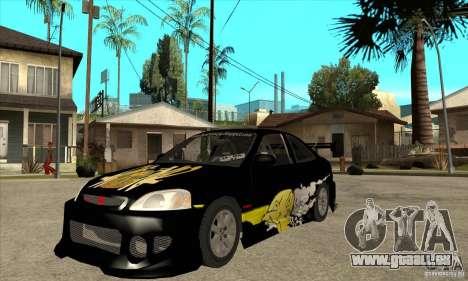 Honda Civic Tuning Tunable pour GTA San Andreas laissé vue