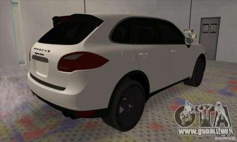 Porsche Cayenne Turbo Black Edition für GTA San Andreas zurück linke Ansicht