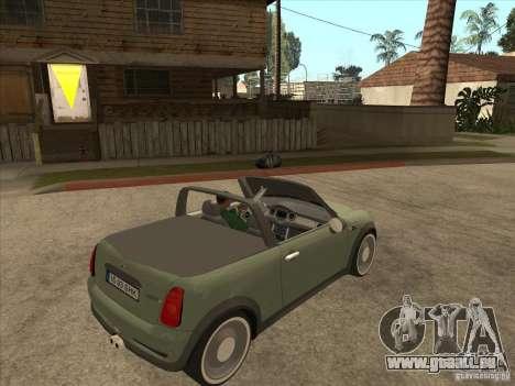 Mini Cooper S Cabrio für GTA San Andreas Rückansicht