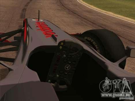 McLaren MP4-25 F1 pour GTA San Andreas vue de droite