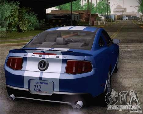 Ford Shelby GT500 2011 pour GTA San Andreas vue arrière