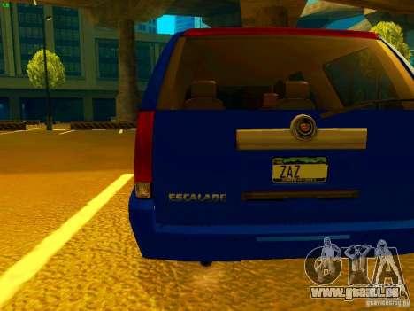 Cadillac Escalade pour GTA San Andreas vue de droite