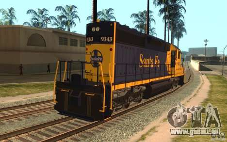 Lokomotive SD 40 Santa Fe blau/gelb für GTA San Andreas zurück linke Ansicht