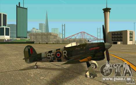 Hawker Typhoon für GTA San Andreas zurück linke Ansicht