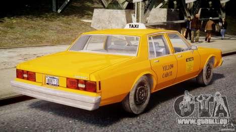 Chevrolet Impala Taxi v2.0 pour GTA 4 vue de dessus