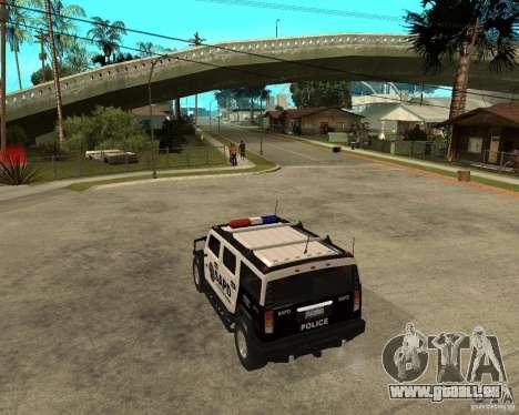 AMG H2 HUMMER SUV SAPD Police pour GTA San Andreas sur la vue arrière gauche