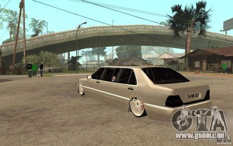 Mercedes-Benz S600 V12 W140 1998 VIP für GTA San Andreas zurück linke Ansicht