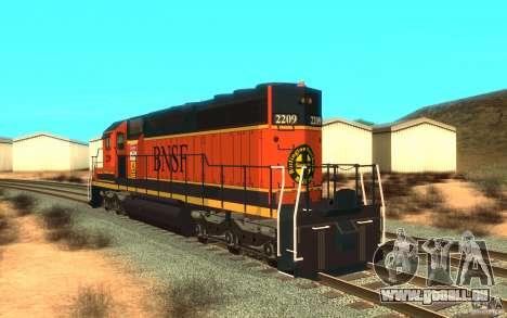 Lokomotive SD 40 Union Pacific BNSF für GTA San Andreas zurück linke Ansicht