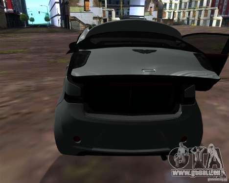 Aston Martin Cygnet für GTA San Andreas Innenansicht