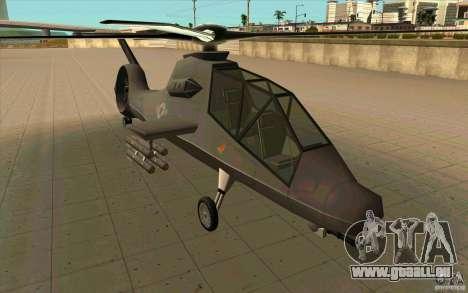Sikorsky RAH-66 Comanche default grey pour GTA San Andreas sur la vue arrière gauche