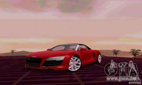 Audi R8 V10 Spyder 5.2. FSI pour GTA San Andreas laissé vue