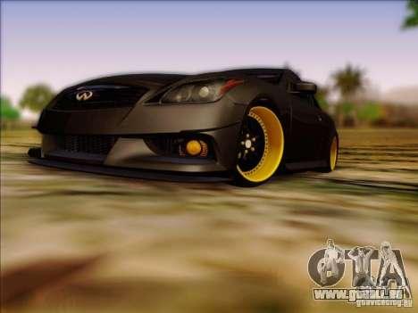 Infiniti G37 HellaFlush pour GTA San Andreas laissé vue