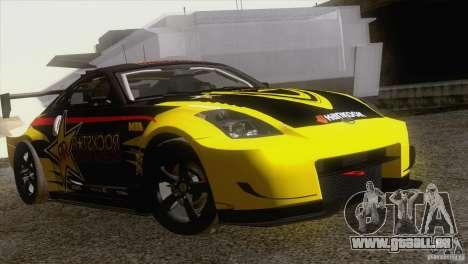 Nissan 350Z Rockstar für GTA San Andreas Rückansicht