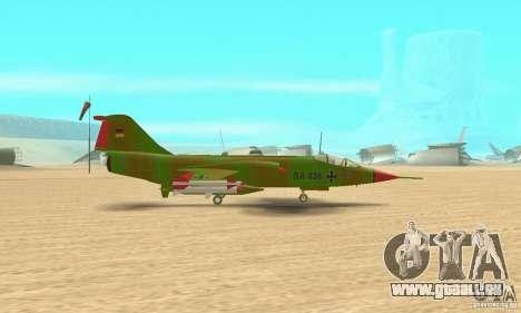 F-104 Starfighter Super (vert) pour GTA San Andreas sur la vue arrière gauche