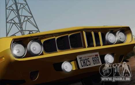 Plymouth Hemi Cuda 426 1971 pour GTA San Andreas salon