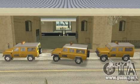 Land Rover Defender 110SW Taxi pour GTA San Andreas sur la vue arrière gauche