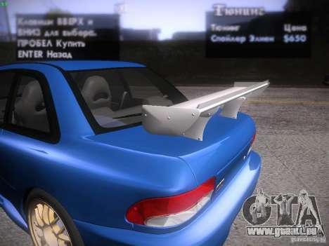 Subaru Impreza 22b Tunable für GTA San Andreas Innen