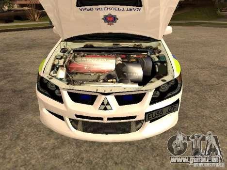 Mitsubishi Lancer EVO 8 Uk Policecar für GTA San Andreas rechten Ansicht