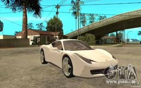 Ferrari F458 pour GTA San Andreas vue arrière