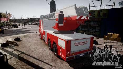 Scania Fire Ladder v1.1 Emerglights red [ELS] für GTA 4 hinten links Ansicht
