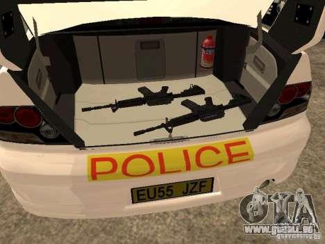 Mitsubishi Lancer EVO 8 Uk Policecar für GTA San Andreas Rückansicht